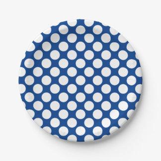 Puntos retros grandes - blanco y azul de cobalto platos de papel