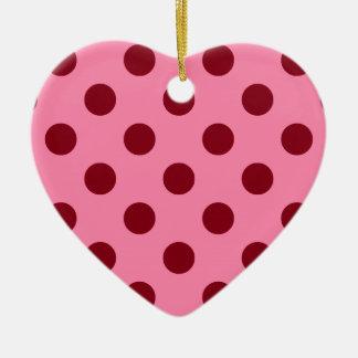 Puntos retros grandes - Borgoña en rosa Adorno De Cerámica En Forma De Corazón