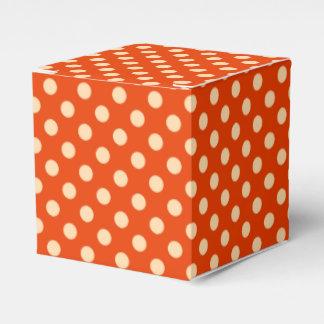 Puntos retros grandes - mandarín y naranja pálido cajas para detalles de boda