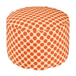 Puntos retros grandes - mandarín y naranja pálido puf redondo