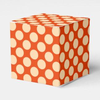 Puntos retros grandes - naranja y mandarín pálidos caja para regalos de fiestas