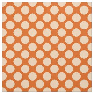 Puntos retros grandes - naranja y mandarín pálidos telas