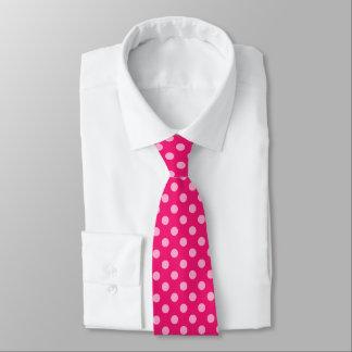 Puntos retros grandes - rosa en un fondo de las corbatas personalizadas