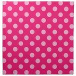 Puntos retros grandes - rosa en un fondo de las ro servilleta imprimida