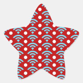 Puntos rojos coloridos de los arcos de los arco pegatina en forma de estrella