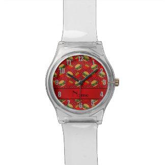 Puntos rojos conocidos personalizados de las relojes de pulsera