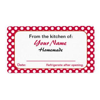 Puntos rojos personalizados de la cocina de etiquetas de envío