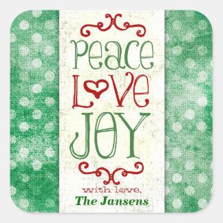 Puntos rojos verdes del amor y de la alegría de la pegatinas cuadradas personalizadas