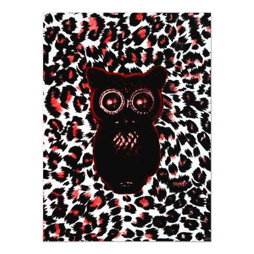 """Puntos rojos y negros del leopardo con el búho invitación 5.5"""" x 7.5"""""""