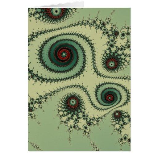 Puntos rojos y verdes del diseño extraño del fract tarjeta de felicitación