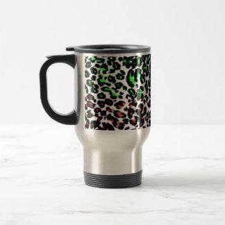Puntos rojos y verdes del leopardo tazas de café