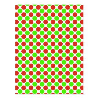 Puntos rojos y verdes en blanco tarjeta postal