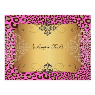 Puntos/rosa del leopardo de PixDezines Tarjeta Postal