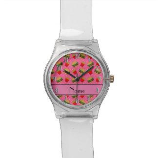 Puntos rosados conocidos personalizados de las relojes de mano