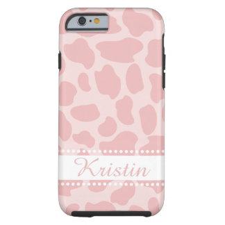 Puntos rosados de la jirafa funda resistente iPhone 6