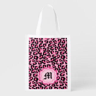 puntos rosados del leopardo, bolso de compras bolsa de la compra