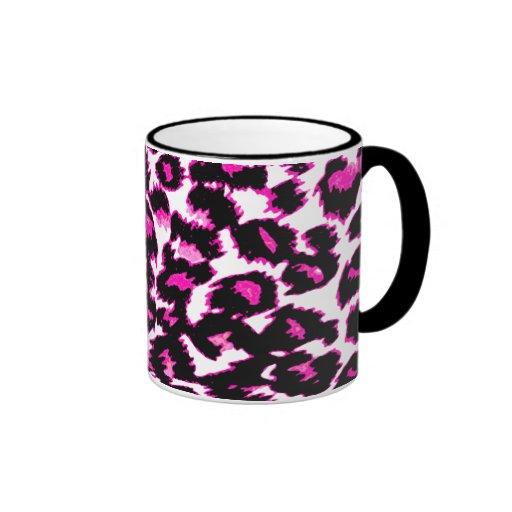 Puntos rosados del leopardo tazas