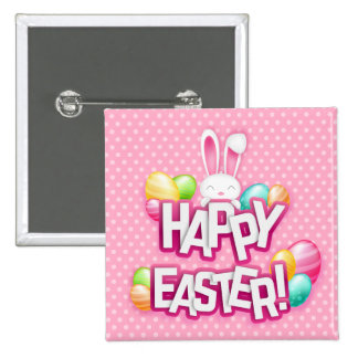 Puntos rosados felices de Pascua del conejo de Chapa Cuadrada 5 Cm