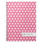 Puntos rosados personalizados libros de apuntes con espiral
