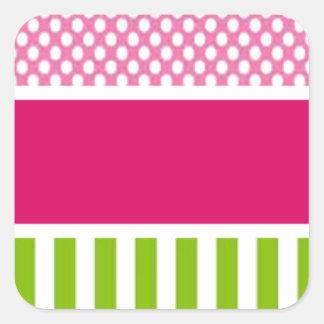 puntos rosados personalizados pegatina cuadrada