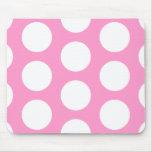 Puntos rosados y blancos alfombrillas de raton
