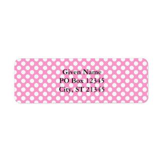 Puntos rosados y blancos etiqueta de remitente