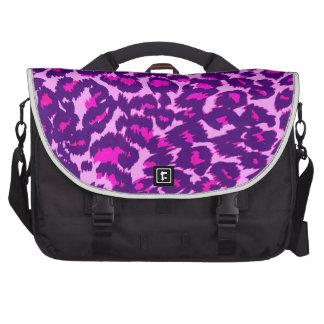 Puntos rosados y púrpuras del leopardo bolsas para portátil