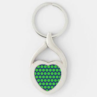 Puntos verdes de neón en corazón azul llavero plateado en forma de corazón