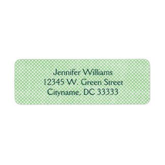 Puntos verdes del vintage pequeños y blancos etiqueta de remite