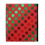 Puntos verdes y marrones en un fondo rojo