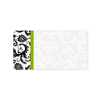 Puntos verdes y negros del damasco etiquetas de dirección
