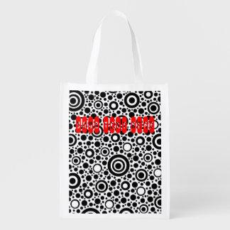 Puntos y círculo negros + su texto y backgr. bolsas reutilizables