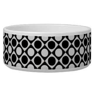 Puntos y cuadrados/blanco del negro + sus ideas comedero para mascota