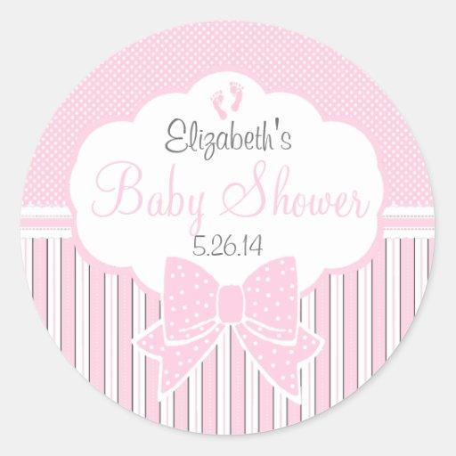 Puntos y ducha rosados del Raya-Bebé Etiqueta Redonda