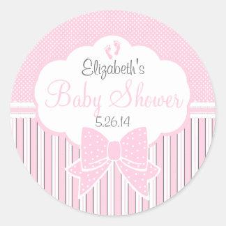 Puntos y ducha rosados del Raya-Bebé Pegatina Redonda
