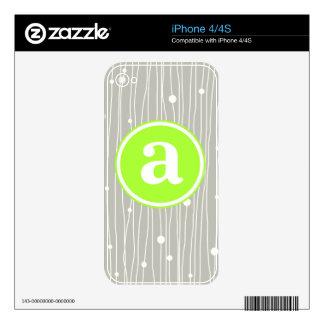 Puntos y líneas monograma iPhone 4S skin