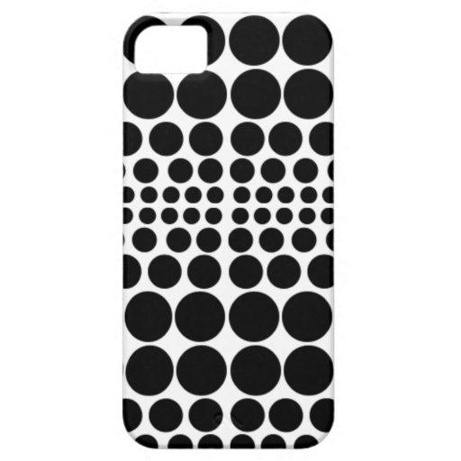 Puntos y puntos blancos y negros iPhone 5 carcasas