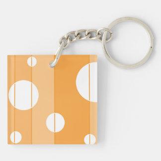 Puntos y rayas en amarillo-naranja llavero cuadrado acrílico a doble cara