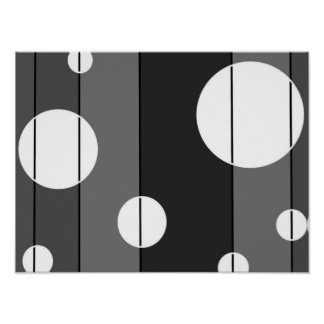 Puntos y rayas en gris póster
