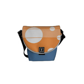 Puntos y rayas en naranja bolsas de mensajería