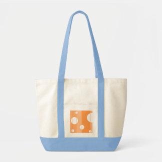 Puntos y rayas en naranja bolsa tela impulso