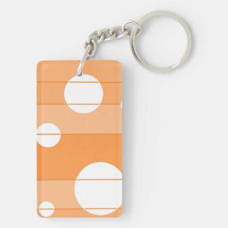 Puntos y rayas en naranja llavero rectangular acrílico a doble cara