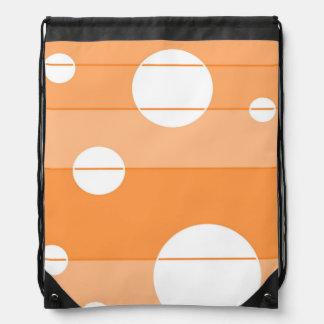 Puntos y rayas en naranja mochila