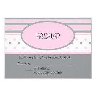 """Puntos y rayas rosados y grises RSVP Invitación 3.5"""" X 5"""""""