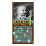Puntos y tarjeta de la foto de las rayas - marrone tarjeta fotográfica personalizada