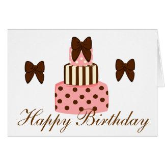 Puntos y torta de las rayas tarjeta de felicitación