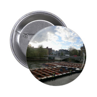 Punts on the River Cam in Cambridge Pinback Button
