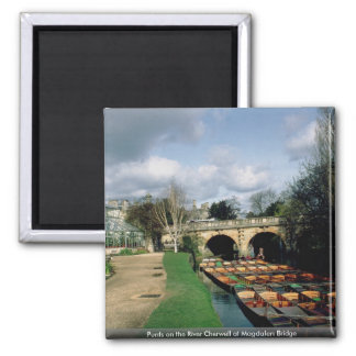 Punts on the River Cherwell at Magdalen Bridge 2 Inch Square Magnet