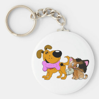 Pup and Kitty with Favorite Treat Basic Round Button Keychain