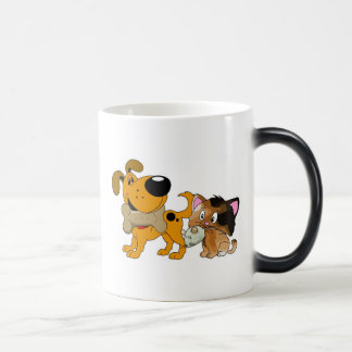 Pup and Kitty with Favorite Treat 11 Oz Magic Heat Color-Changing Coffee Mug